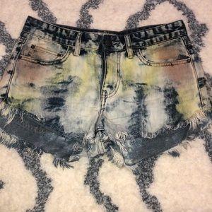 Free People Color Wash Fringe Jean Shorts